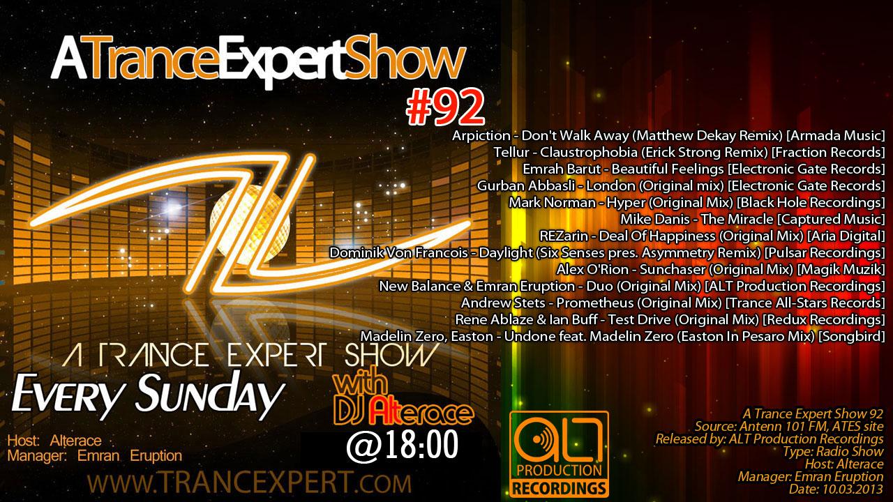 A Trance Expert Show 92 [Antenn 101 FM]